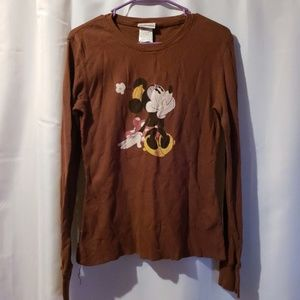 Disney Minnie Mouse brown thermal long sleeve top